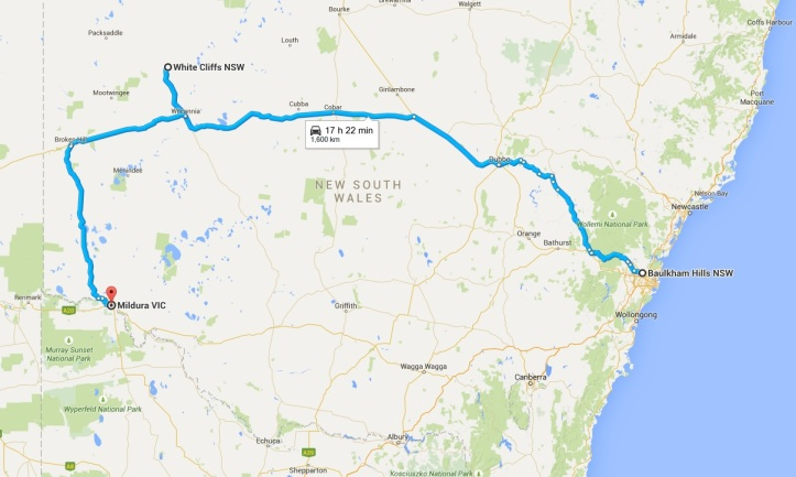 Map - Day 1 to 3 - Outback NSW