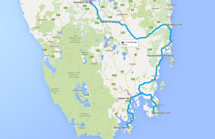 Map - Day 20 to 22 - East Coast of Tasmania