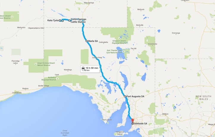 Map - Day 8 to 11 - NT and back to Adelaide