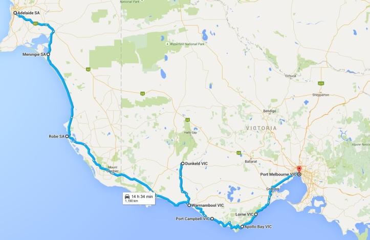 Map - Day 12 to 16 - SA and VIC Coast