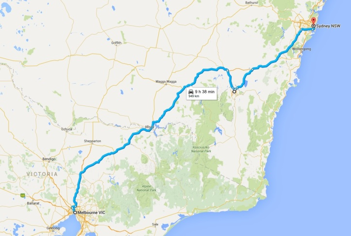 Map - Day 23 to 25 - Home run back to Sydney