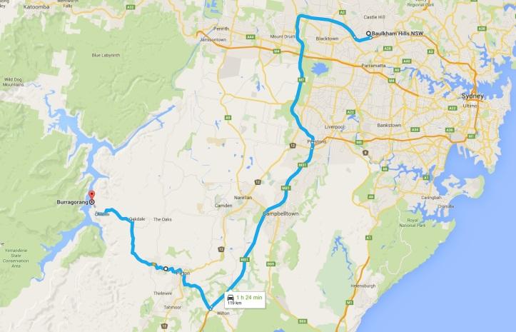 Map - Burragorang Valley via Picton - 14-11-2015