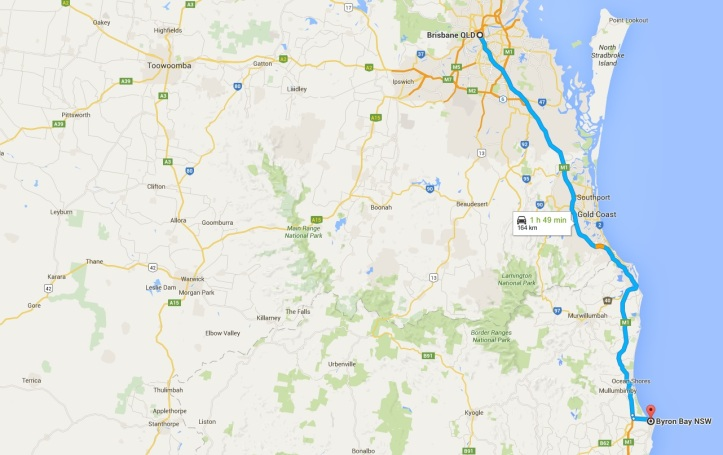3 Brisbane to Byron Bay - Map - Outback NSW and QLD Road Trip