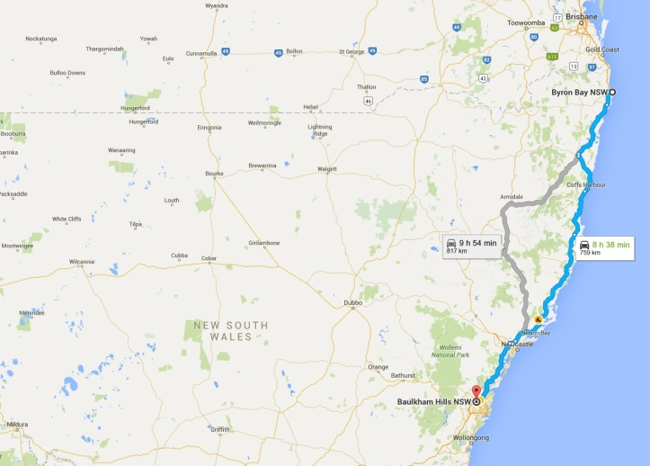 4 Return to Sydney - Map - Outback NSW and QLD Road Trip