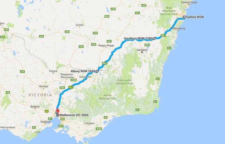 day-6-map-grom-tourer-sydney-to-melbourne